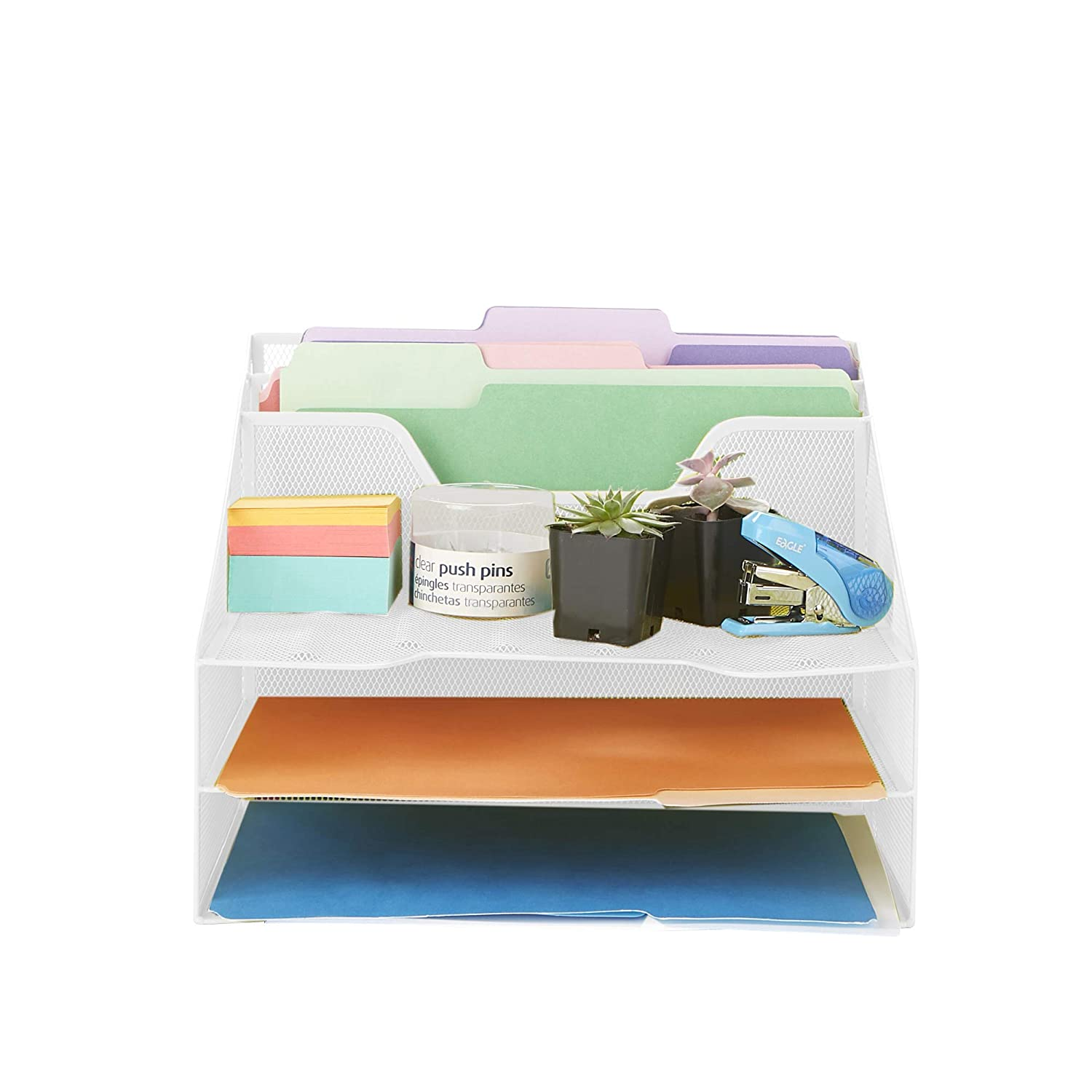 Mind Reader MESHBOX5-WHT 5 Section File, Mesh Organizer 5 Desktop Document Letter Tray for Folders, Mail, Stationary, Desk Accessories, White