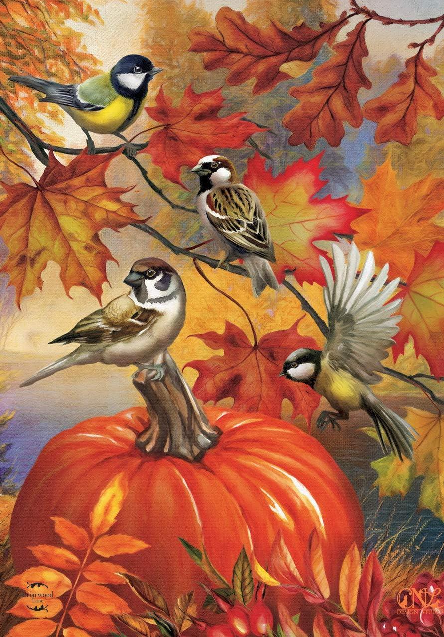 "Briarwood Lane Autumn Bird Gathering Garden Flag Fall Pumpkin Chickadees 12.5"" x 18"""