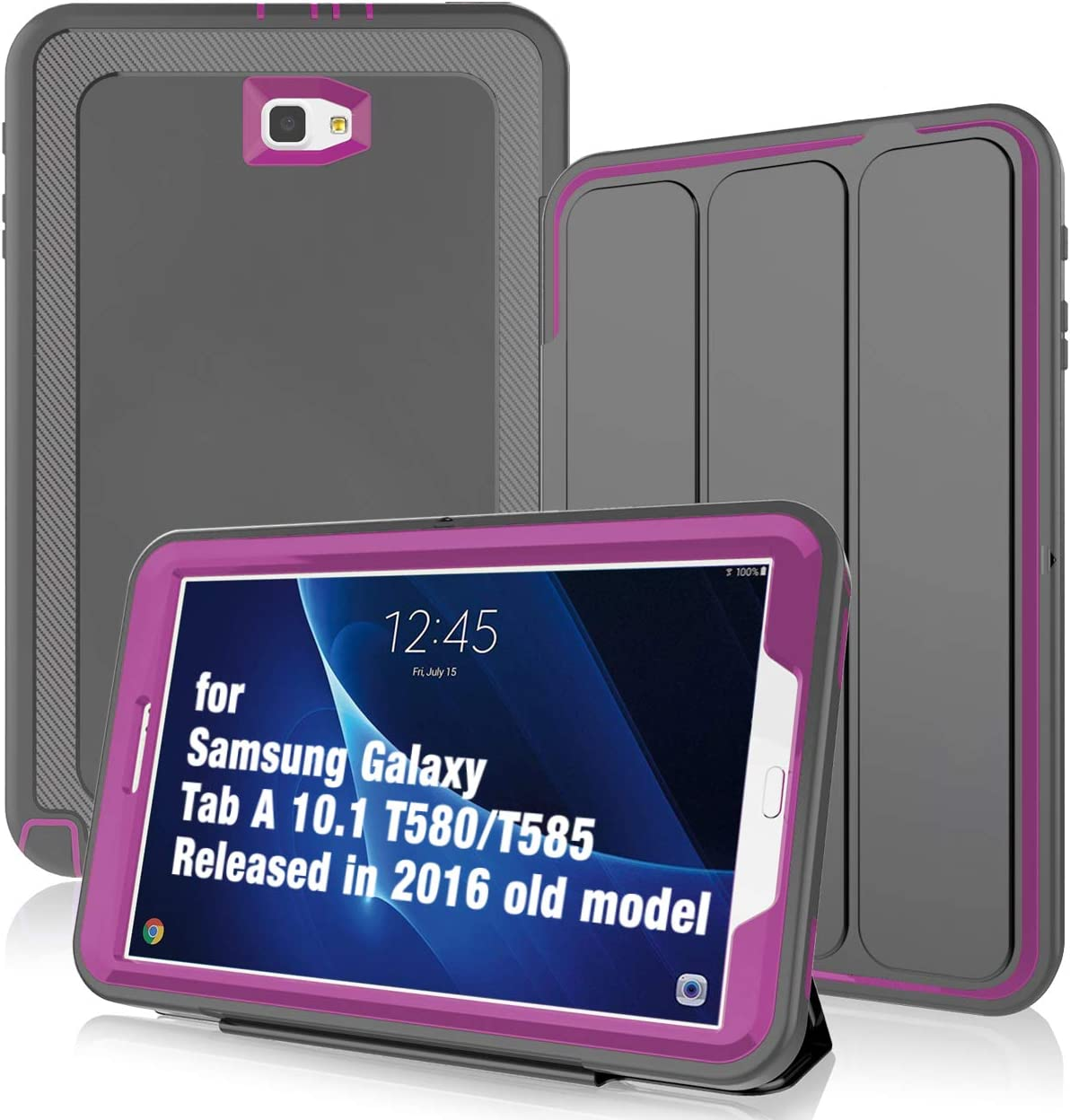 DUNNO Case for Samsung Galaxy Tab A 10.1(Released in 2016),Heavy Duty Rugged Protective Case for Galaxy SM-T580/T585/T587(NO S Pen Version) with Auto Sleep/Wake Up&Stand Folio Design (Gery/Rose)