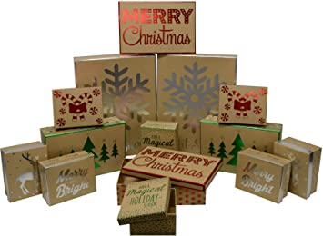 Christmas Decorative Gift Boxes With Foil Hot Stamp Holiday Designs Strong And Thick Durable And