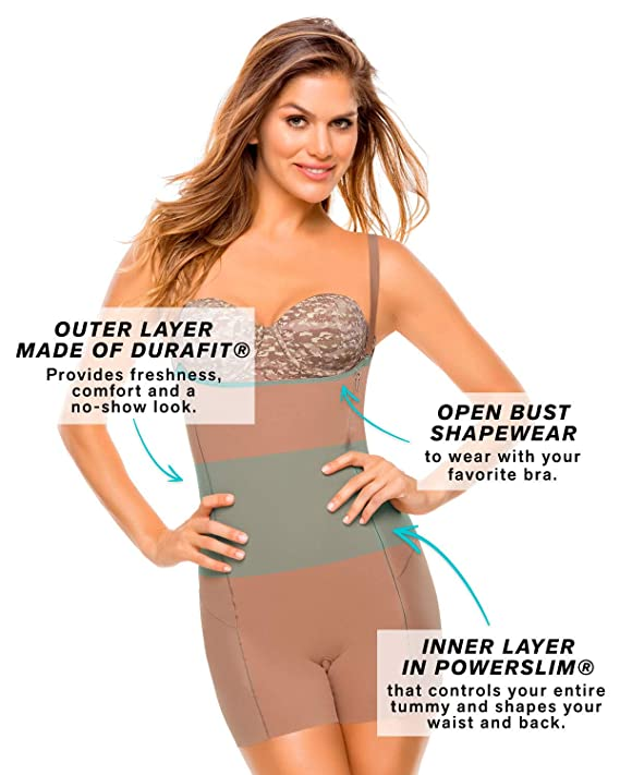 fd08d7da96def Leonisa Butt Lifter Tummy Control Open Bust Body Shaper for Women with  Removable Pads and Removable Straps at Amazon Women s Clothing store
