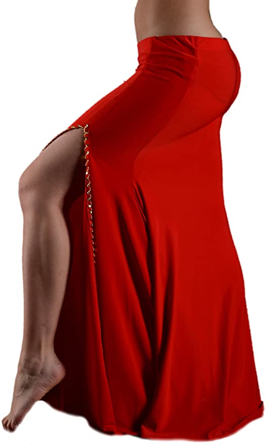 Falda derecha hendida de lycra de baile oriental, color rojo y ...