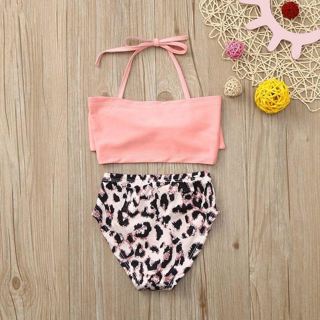 Voberry Baby Swimsuit Girl 2Pcs Halter Bowknot Tube Top+Leopard Print Shorts Bottoms Bikini Bathing Suit Swinwear