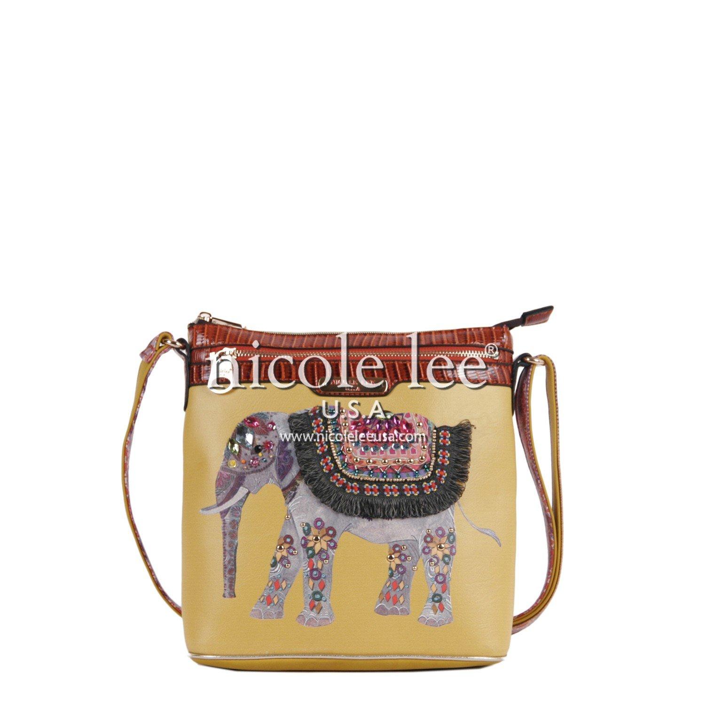 Nicole Lee Aaliyah Majestic Rhinestone Elephant Cross Body Bag, Yellow, One Size