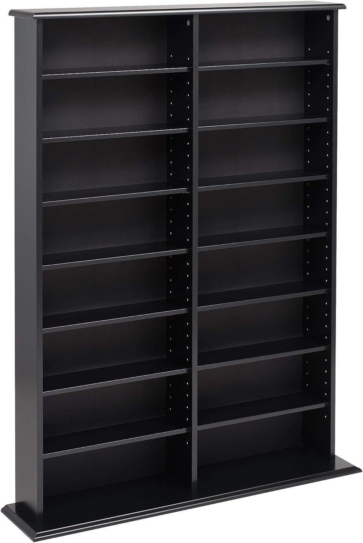 "Prepac 51/"" Double Slim Wall Media Storage Rack in Oak and Black"
