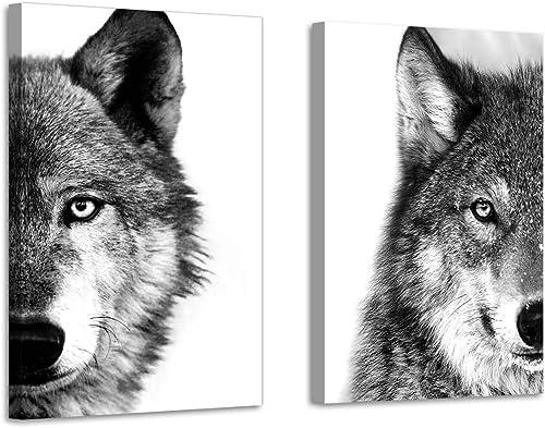 Wolf Canvas Wall Art Print: Wildlife Animal Artwork Print on Wrapped Canva