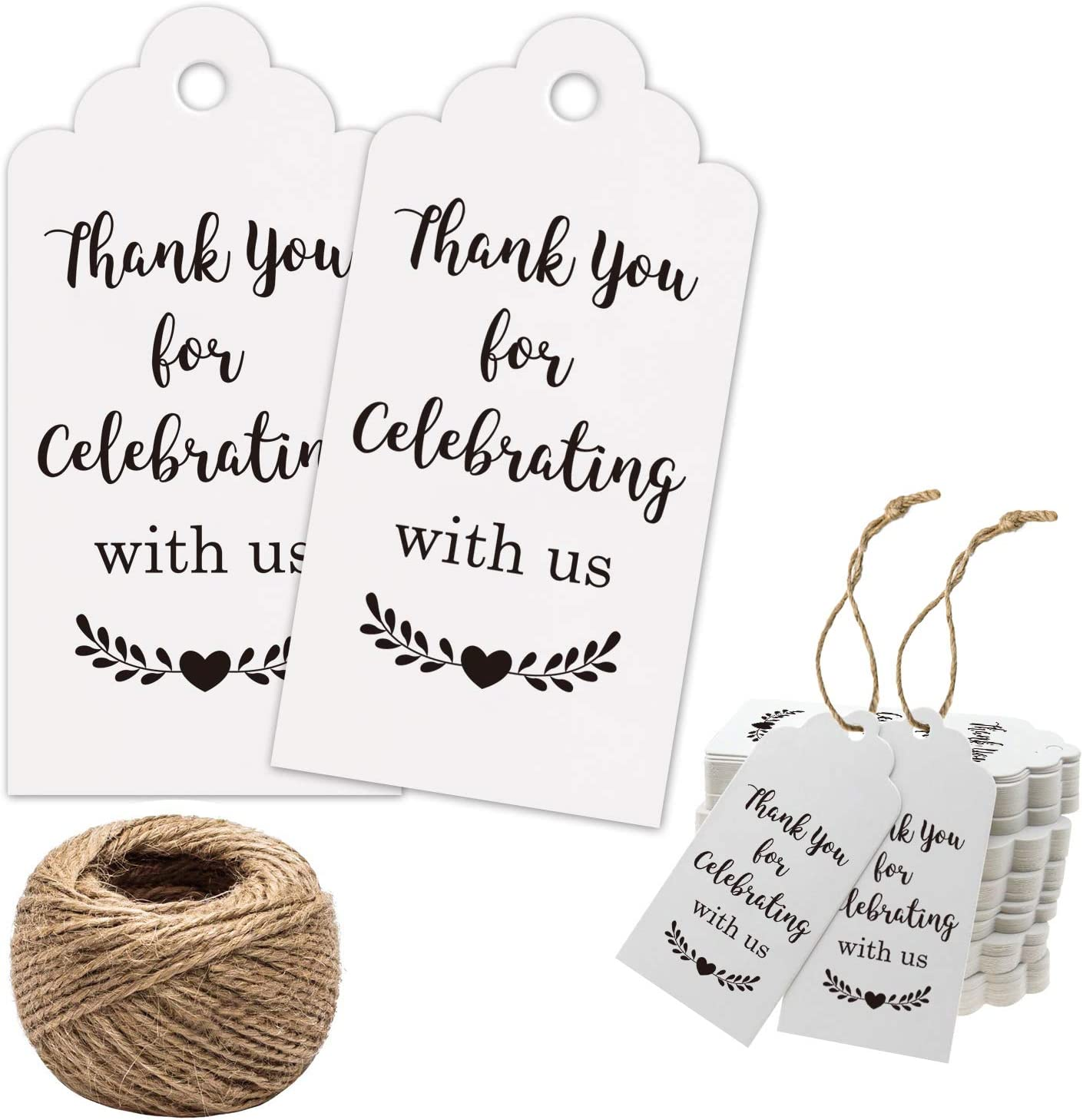Thank You Tags, Thank You for Celebrating with Us Tags, 100Pcs White Thank You Tags for Wedding Birthday Baby Shower Party Favors, Paper Gift Tags with 100 Feet Jute String
