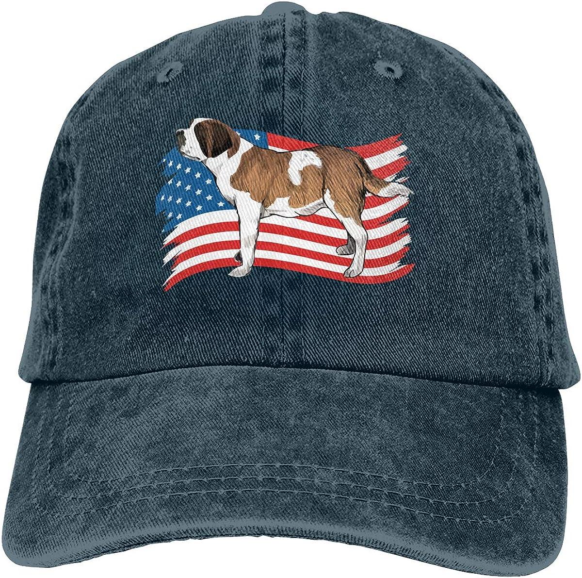 TBVS 77 Men Women Distressed Denim Fabric Baseball Cap Saint Bernard Dog USA Flag Adjustable Headwear