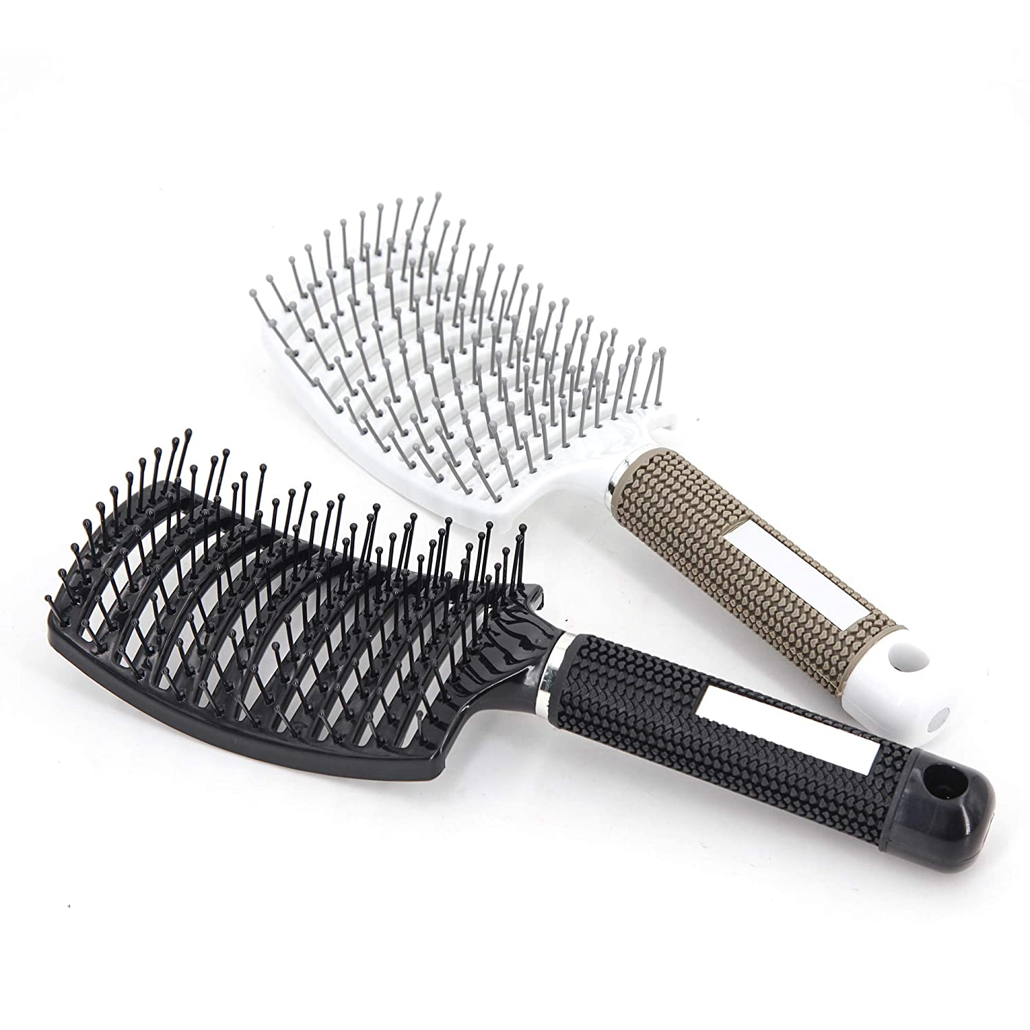 Amazon Com 2 Pc Curved Vented Hair Brushes For Women Eyxformula Anti Frizz Hair Detangling Brush For Long Thick Curly Hair Large Paddle Blow Fast Drying Hair Detangler Wet Hair Brush Massage
