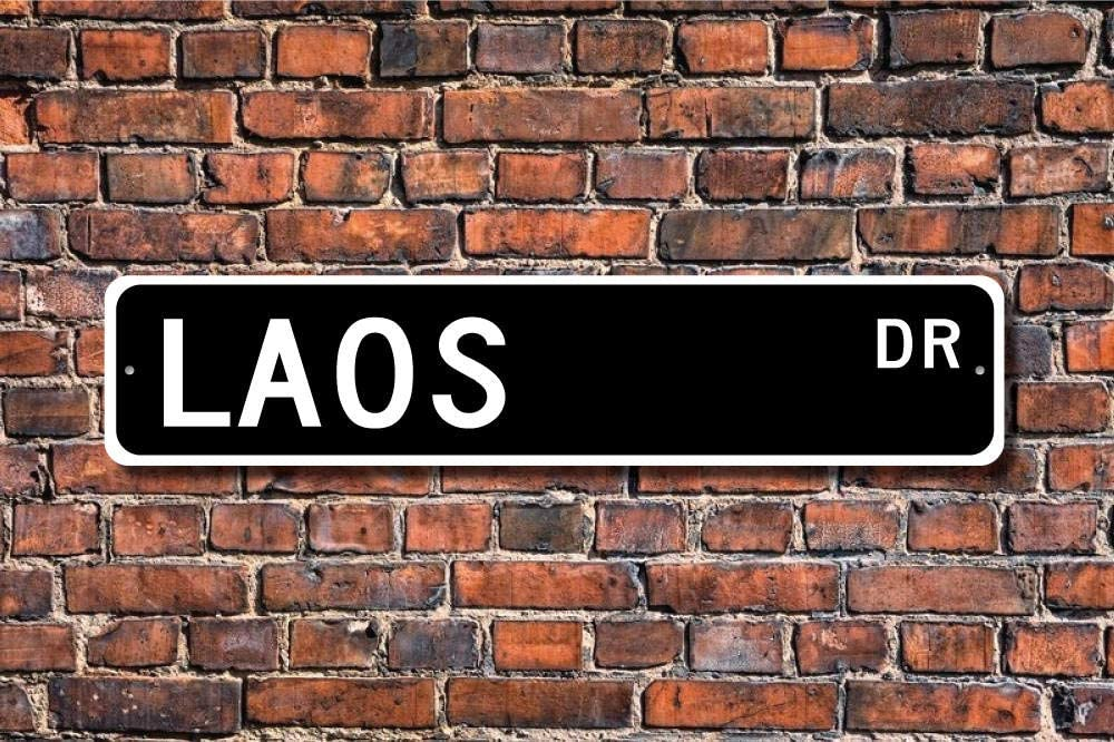 Funny Metal Sign Vintage Sign, Laos Keepsake, Laos Wall Decor, Laos Decor, Laos Aluminum Sign Wall Art Decor Metal Sign,Public Sign,Decoration Sign 4x18 Inches