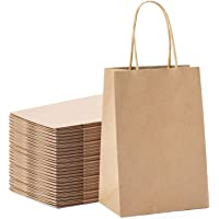 """Halulu Brown Kraft Paper Bags - Gift Party Bags with Handles - 25pc 5""""x3.75""""x8"""" Shopping Bags"""