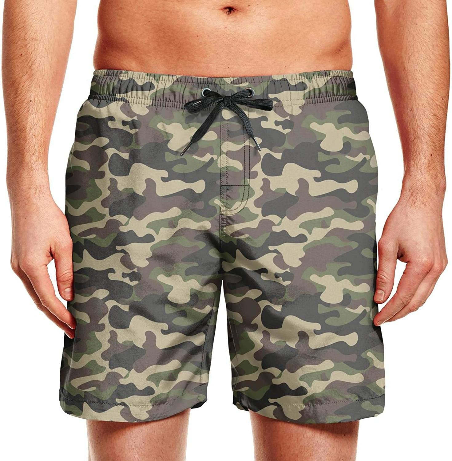 YGRAA Camo Beach Shorts Running Stretch Swimming Trunks for Mens
