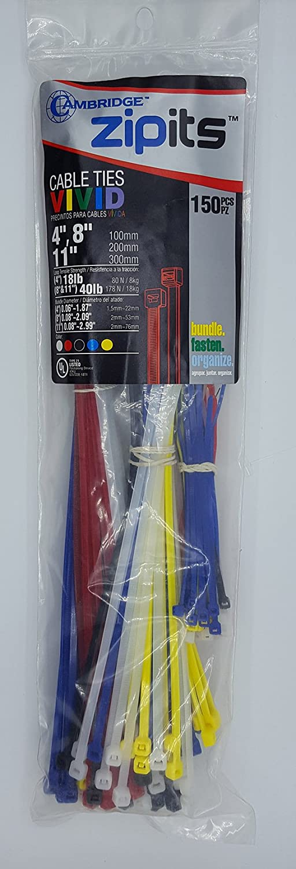 Cambridge ZipIts Cable Ties 150 Pcs 4 8 11 Assortment of 5 Assorted Colors