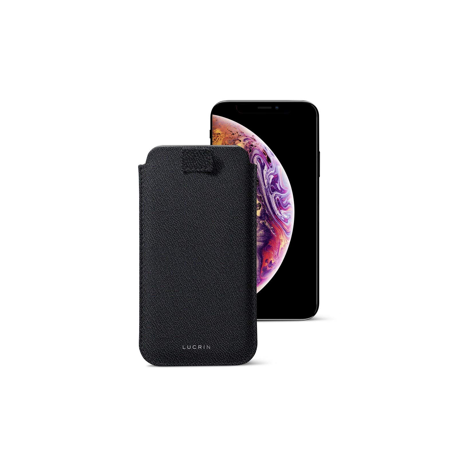 Lucrin - Pull Tab Slim Sleeve Case Compatible with iPhone Xs/iPhone X and Wireless Charging - Black - Goat Leather