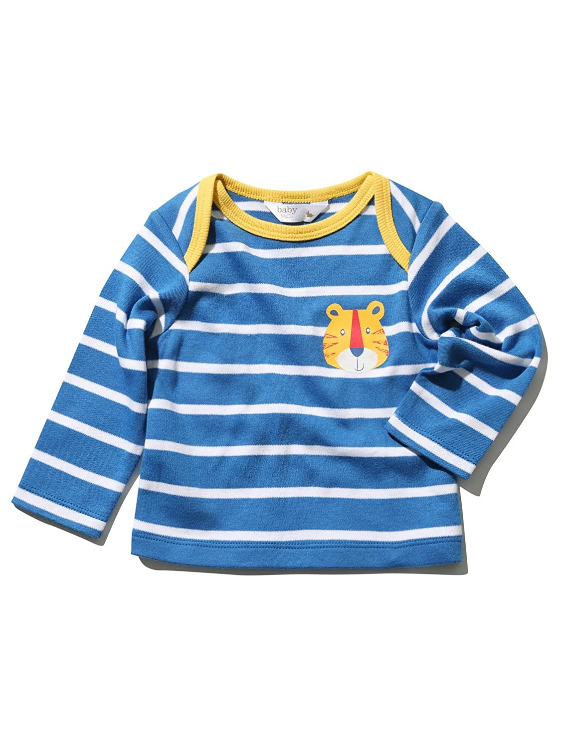 M&Co Newborn Boy 100% Cotton Blue White Stripe Long Sleeve Tiger Print Envelope Neck T-Shirt