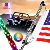 Nirider 4ft LED Whip Light with Flag Pole Remote Control Spiral RGB Chase Light Offroad Warning Lighted Antenna LED…