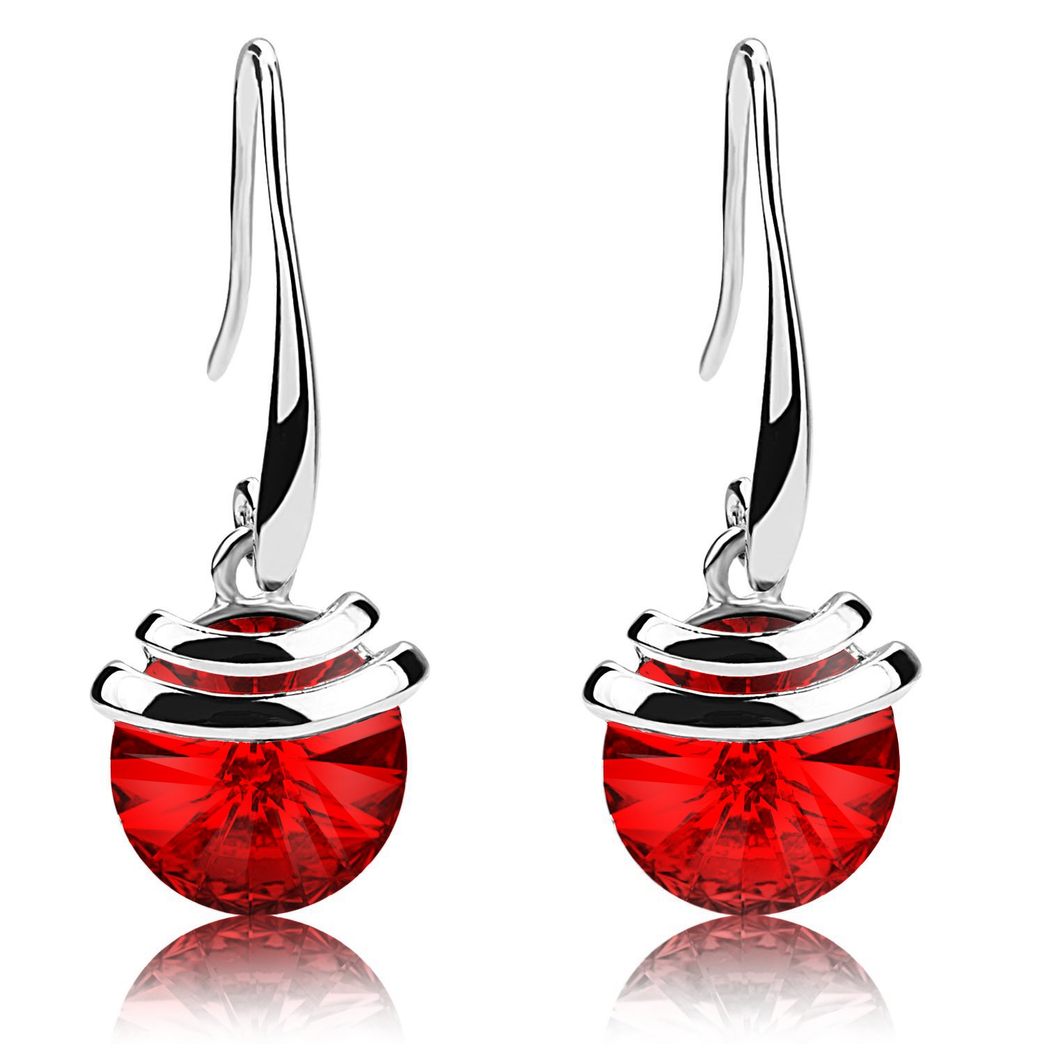 Crystal French Wire Dangle Drop Earrings (Red)