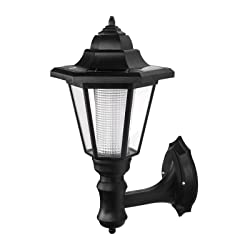 ONEVER Solar Vintage Wall Lamp Outdoor | Led Hexagonal Wall Light | Wall-mounted Landscape | Garden Fence Yard Lamps | Waterproof Warm White