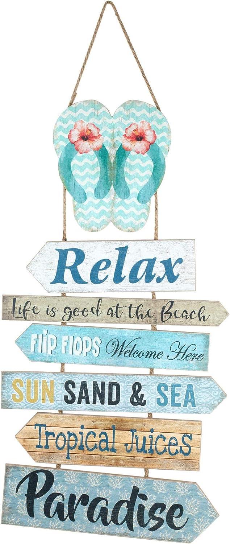 happyDko D/éco Murale Bois H 67 cm Enjoy The Beach /& Relax