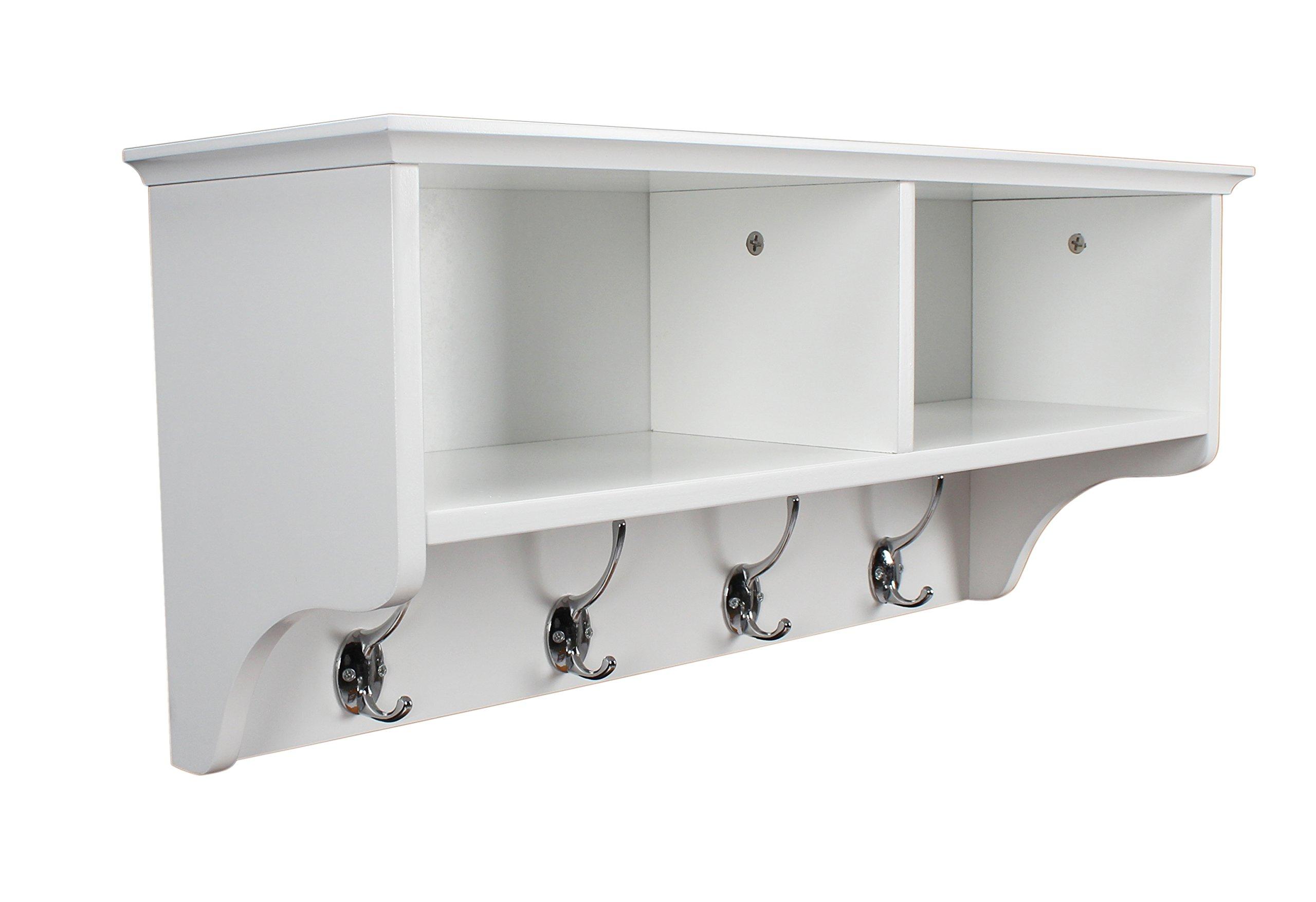 Home Source Coat Hook Wall Mounted Unit White 2 Open Shelves 4 Robe Hooks  Bathroom Hallway