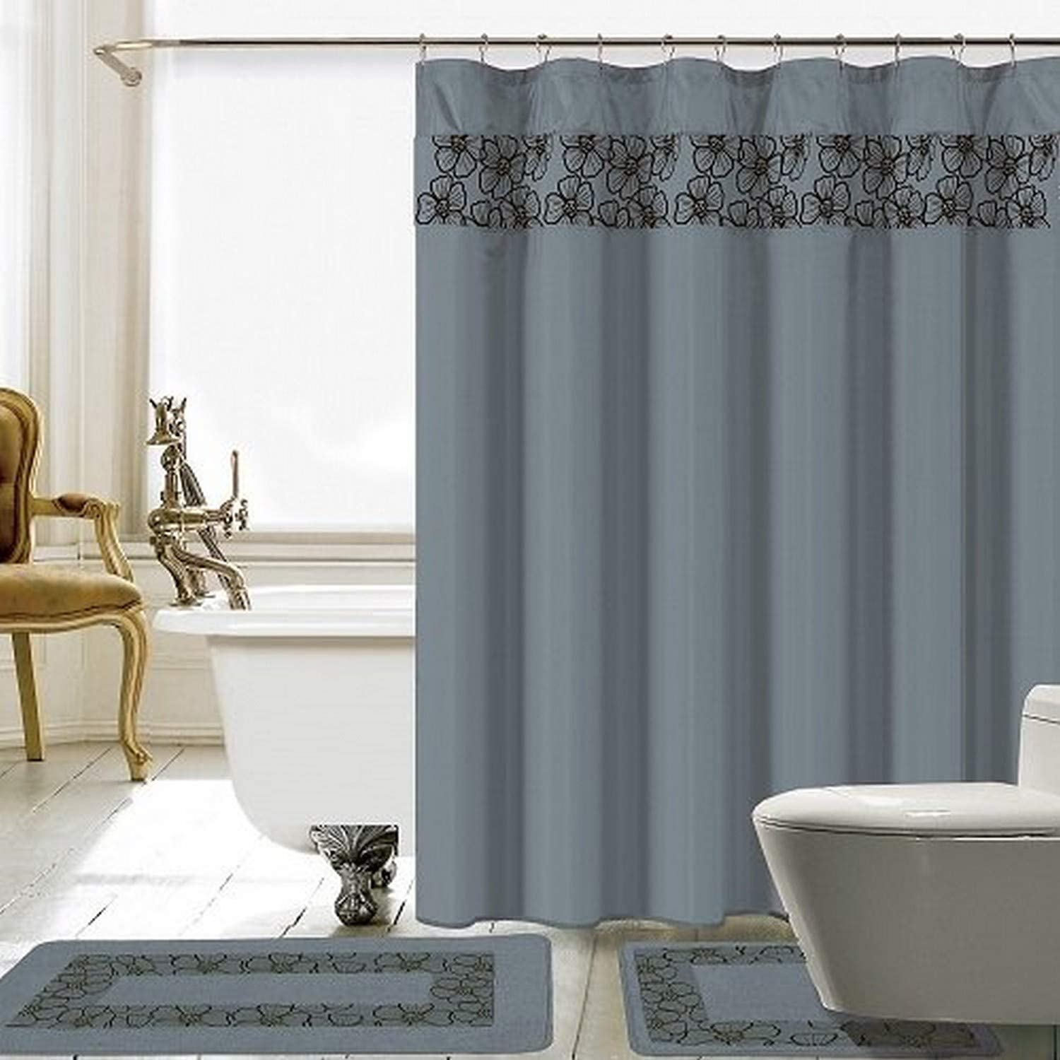 Navy Blue 18 Piece Lilian Embroidery Banded Shower Curtain Bath Set
