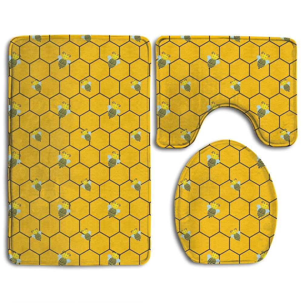 Huayaa Bathroom Non-Skid Carpet Bath Rugs 3 Pieces Set Water-Absorbing Bee Texture Wallpaper Flannel Toilet Floor Bath Mats Contour Rug Lid Cover