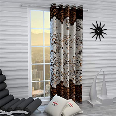 Home Sizzler 1 Piece Eyelet Polyester Door Curtain, 7ft, Brown Curtains at amazon