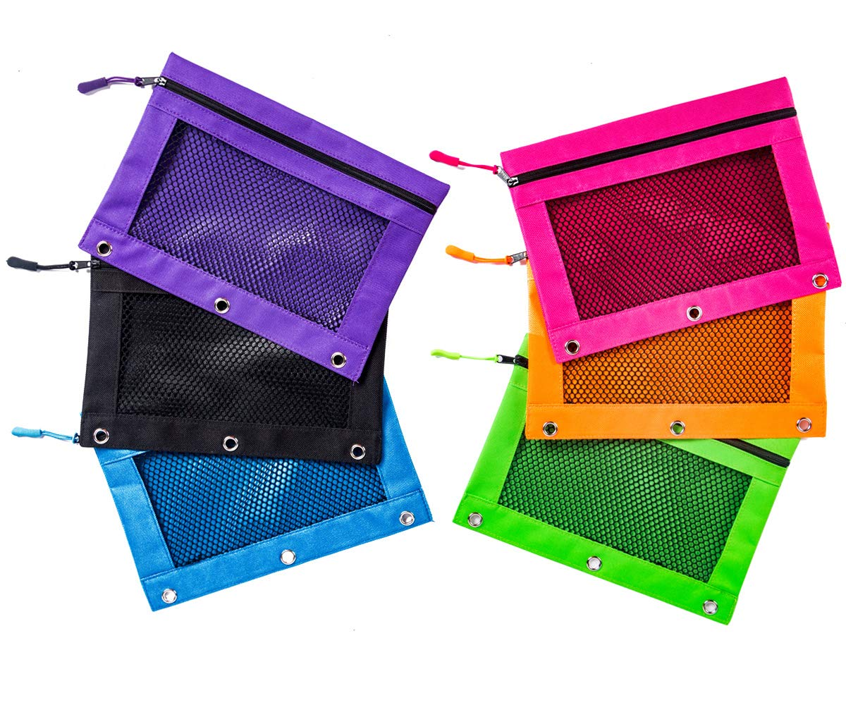 Hitop Zippered Binder Transparent High Capacity Pencil Pouch Bag with Three Rivet Enforced Holes for School, Office and Art (Pencils and Other Accessories are not Included) (6 Pack, Five Color Net)