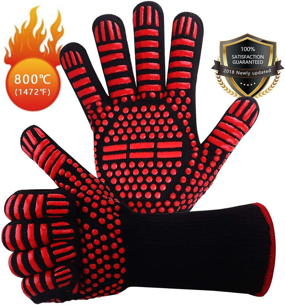 UUpipa BBQ Gloves 1472℉ Extreme Heat Resistant, Oven Silicone Glove Kitchen Oven Mitts Grilling Glove for Cooking, Kitchen, Baking, Fireplace, Grilling, 1 Pair (13 Inch) (Red-Equal)