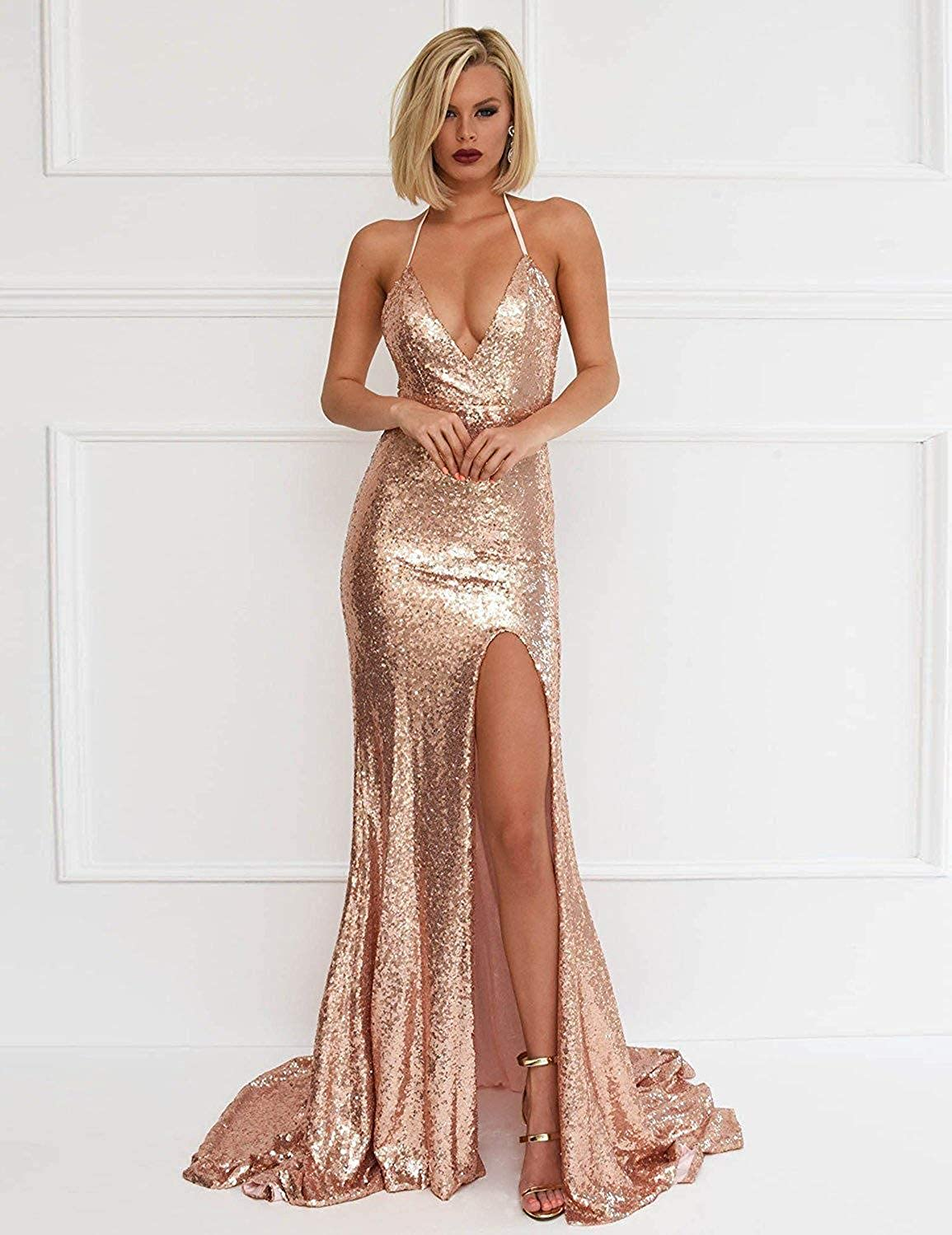 Staypretty Sequins Prom Dress Long Split Backless Mermaid Evening Gown For Women