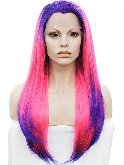 Imstyle largo Silky recto textura rosa Ombre color morado sintético Lace Front Peluca Cosplay Drag Queen