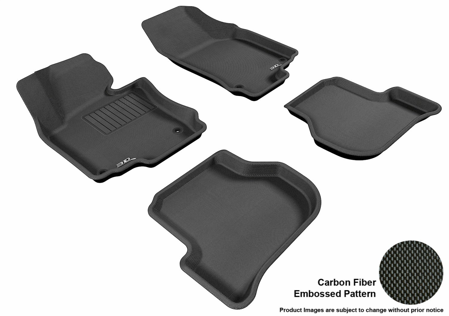 L1VW00811509 Black 3D MAXpider Front Row Custom Fit All-Weather Floor Mat for Select Volkswagen Jetta Models Kagu Rubber