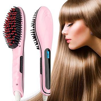 Hair Straightener,Hair Straightening Brush,Bienna [Ceramic] Professional  Dual Voltage Silky Straight