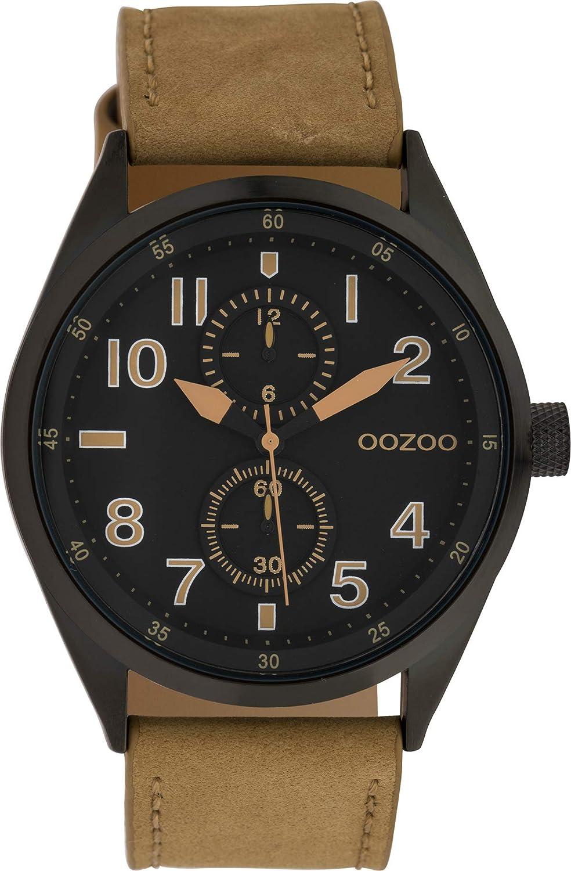 Oozoo - Reloj de Pulsera para Hombre con Esfera de Aspecto cronógrafo y Correa de Piel de 42 mm