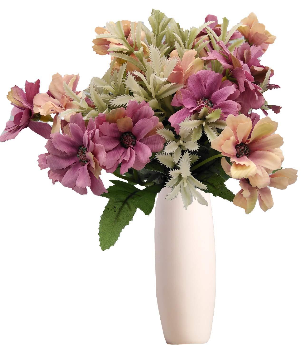 Live with love 2 vasi in ceramica bianca perfetti per fiori e piante decorano Matrimonio Feste Casa -Bianco DL Newtech
