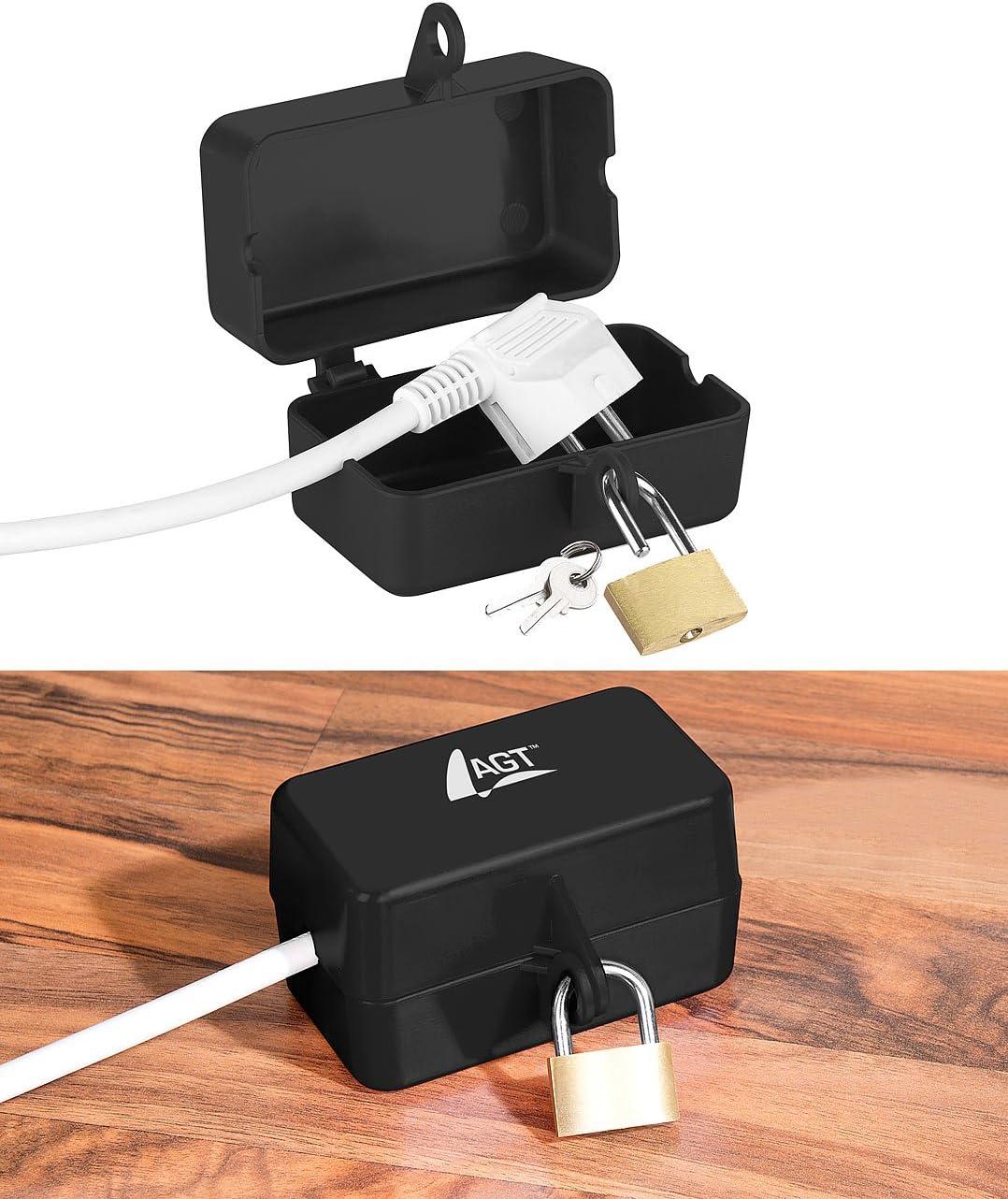 AGT – Candado de enchufe: caja de protección con candado, 2 llaves (caja de enchufe)