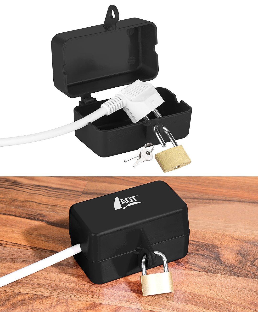 AGT Steckerschloss Steckersafe 2 Schl/üssel Abschlie/ßbare Stromstecker-Schutzbox mit Vorh/ängeschloss
