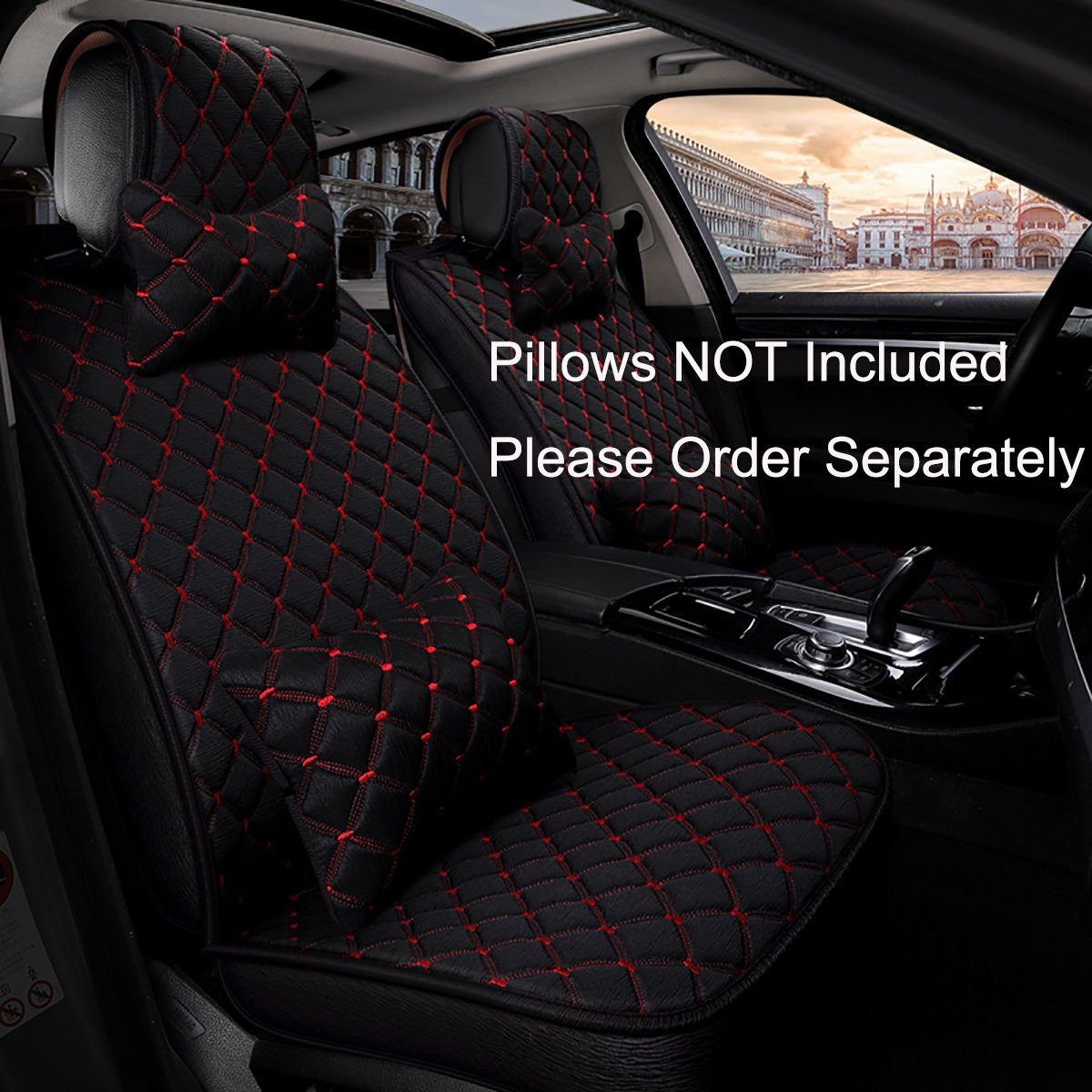 INCH EMPIRE Anti Slip Car Seat Cover Full Set Cloth Universal Fit Front and Back Breathable Dirty Proof Fabric Cushion-Adjustable Bench for 95% Types of 5 Seats Cars(Black with Red Stitch Grid) by INCH EMPIRE (Image #9)