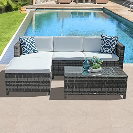 5dd1a1d99538 ... 5pc Outdoor PE Wicker Rattan Sectional Furniture Set with Cream White  Seat and Back Cushions, Blue Throw Pillows, Steel Frame, Gray: Kitchen &  Dining