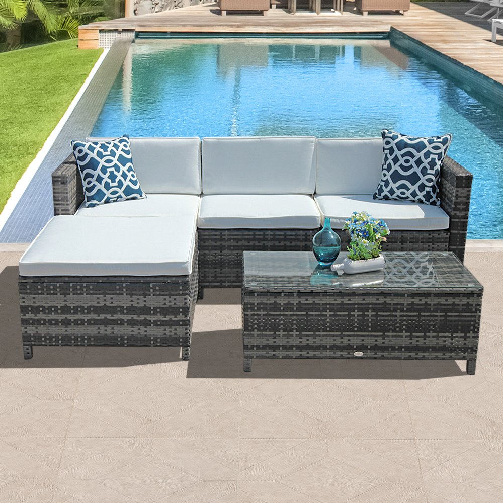 Patiorama 5 Piece Patio Furniture Set, All-Weather Grey PE ... on 5 Piece Sectional Patio Set id=43792