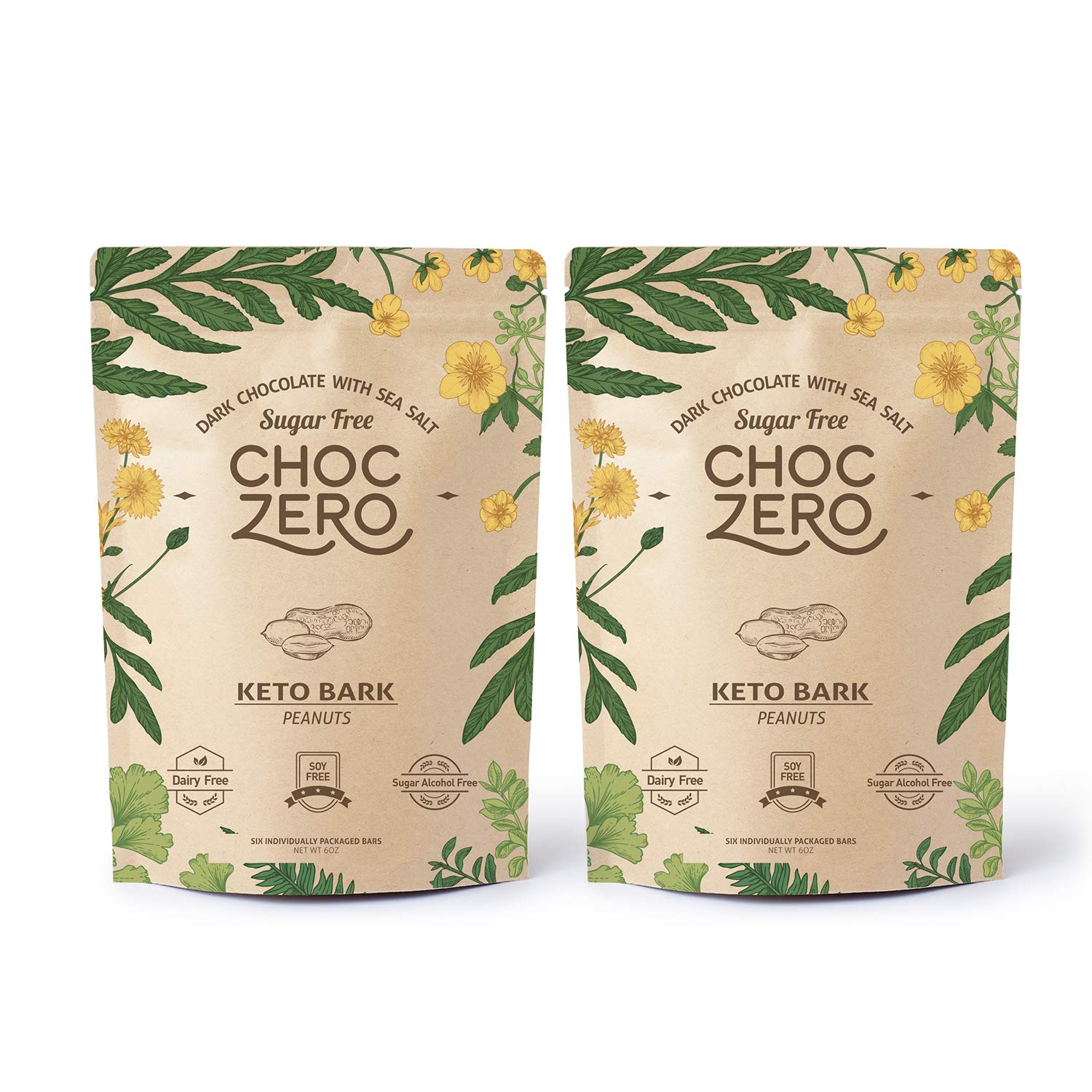 ChocZero's Keto Bark, Dark Chocolate Peanuts with Sea Salt. Sugar Free, Low Carb. No Sugar Alcohols, No Artificial Sweeteners, All Natural, Non-GMO (2 bags, 6 servings/each) by ChocZero