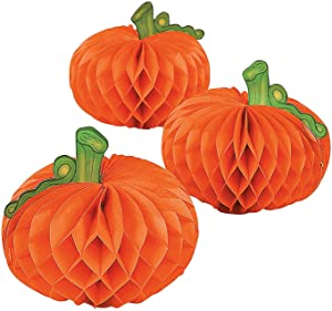 Fun Express - Tissue Pumpkins (6pc) for Halloween - Party Decor - General Decor - Centerpieces - Halloween - 6 Pieces