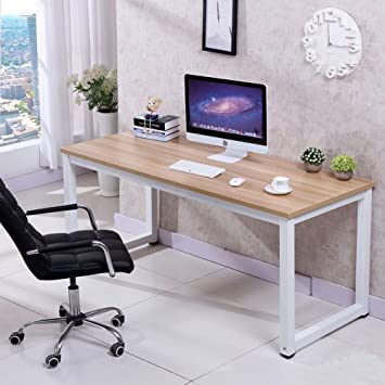 office wood table. CHEFJOY Computer Desk PC Laptop Table Wood Work-Station Study Home Office Furniture, White I
