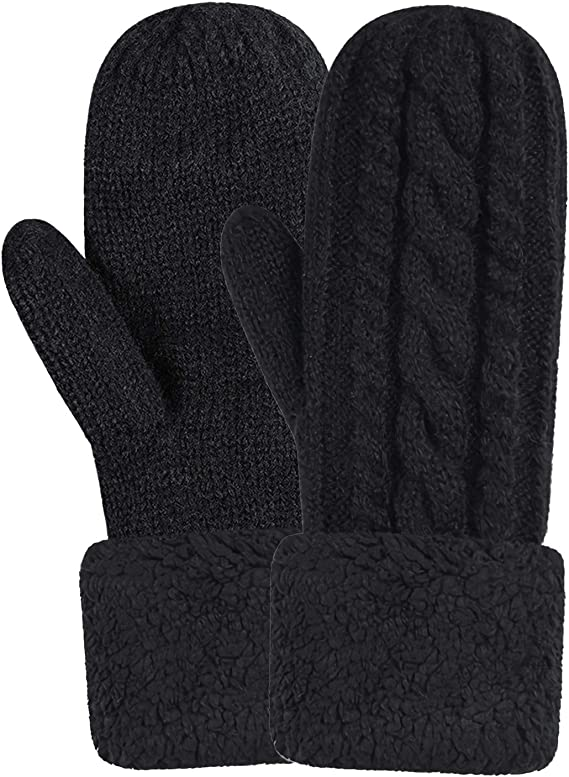 Women's Winter Gloves Warm Lining - Cozy Wool Knit Thick Gloves Mittens in  12 colors (Black): Amazon.ca: Clothing & Accessories