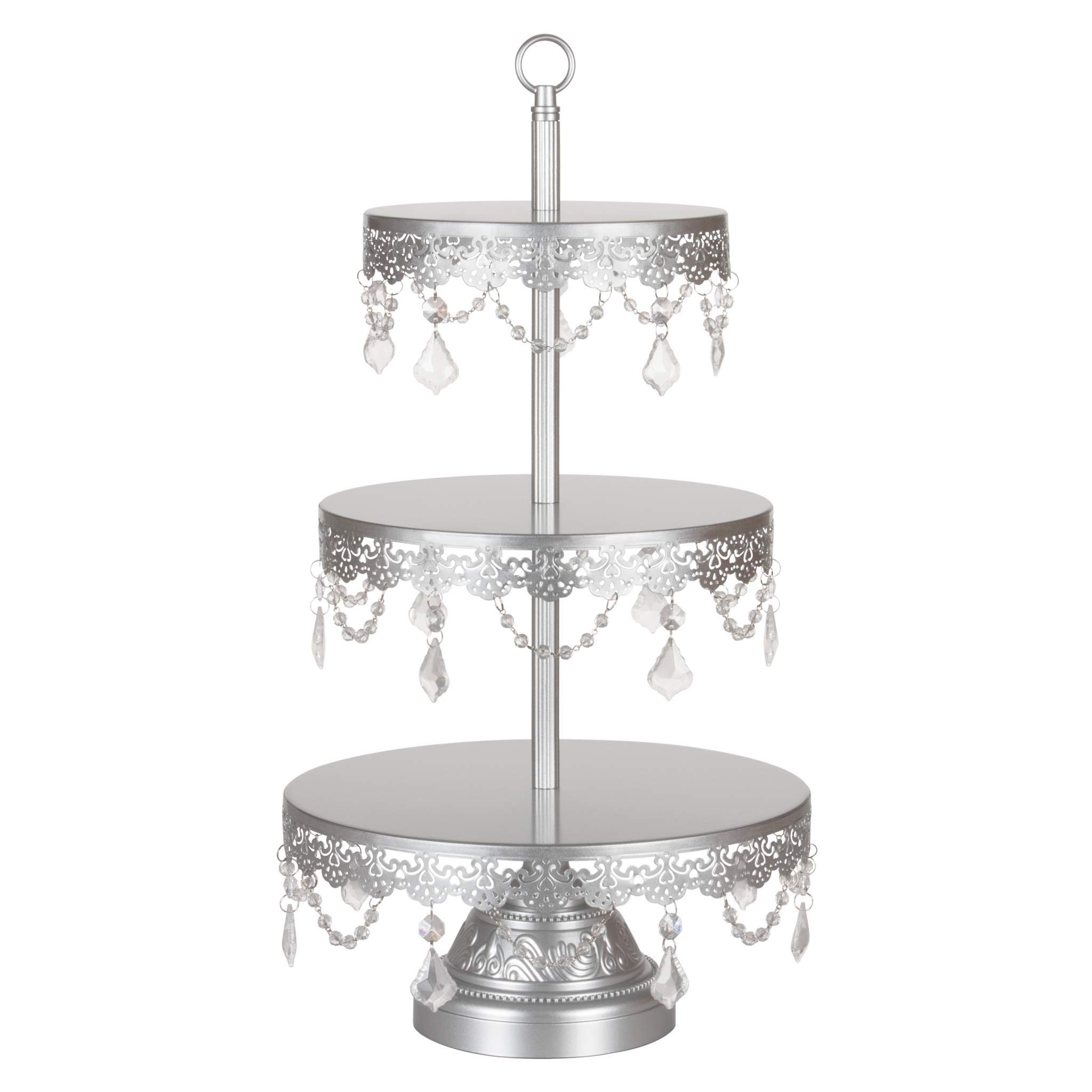 Amalfi Decor 3 Tier Dessert Cupcake Stand, Large Pastry Candy Cake Cookie Tower Holder Plate for Wedding Event Birthday Party, Round Metal Pedestal Tray with Crystals, Silver by Amalfi Décor