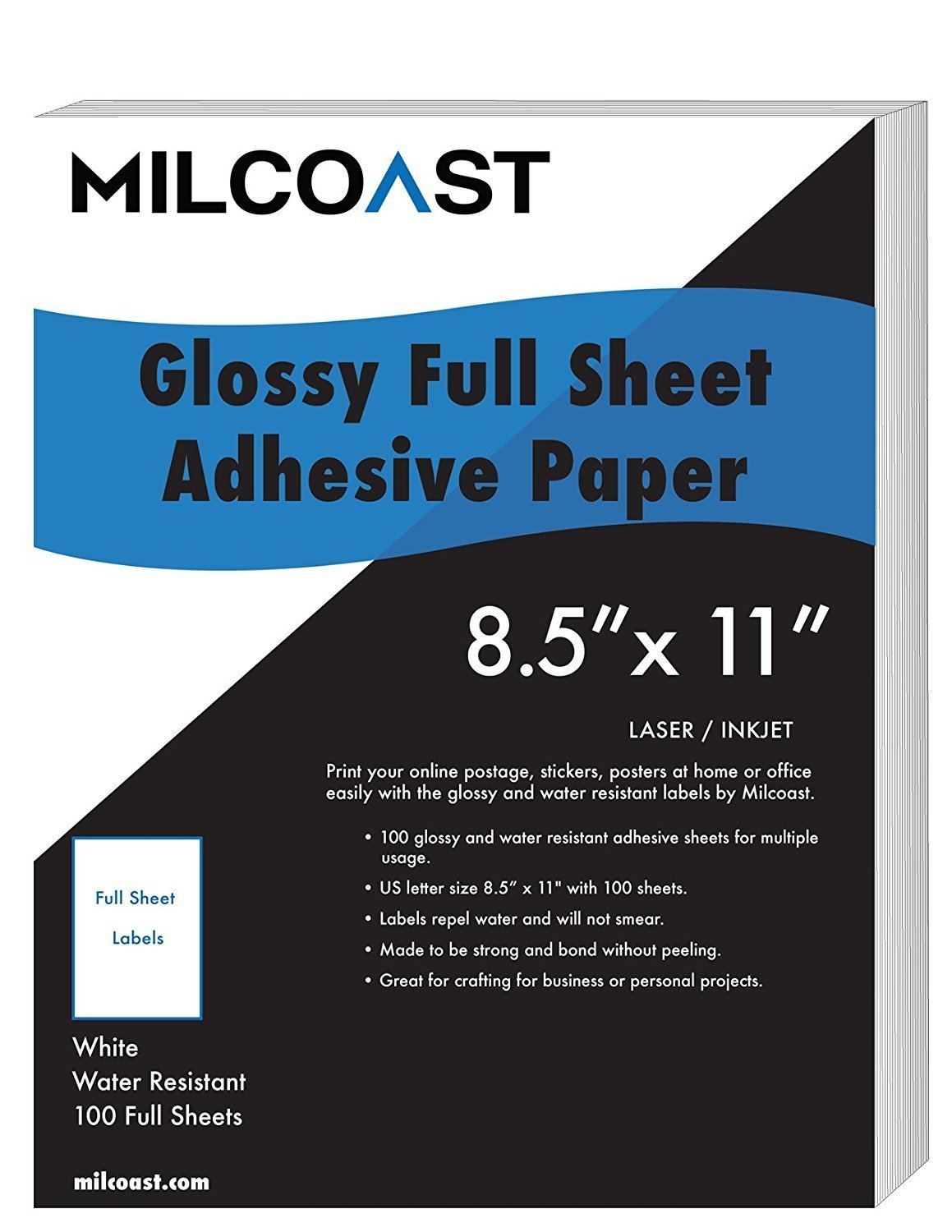 "Milcoast Full Sheet 8.5"" x 11"" Shipping Sticker Paper Adhesive Labels Glossy Water Resistant for Laser or InkJet Printer (100 Full Sheet)"