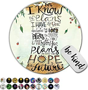 Dikoer Quotes Jeremiah 29:11 Round Mouse Pad for Laptops Office Computer Decor,Cute Gaming Mousepad with Design,Non Slip Rubber Mouse Mat and be King Sticker