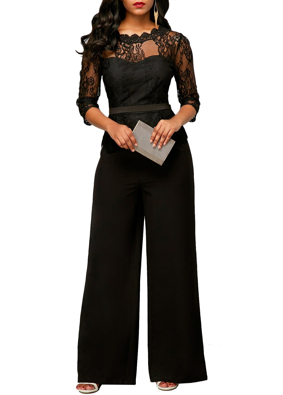 Voghtic Women Long Sleeve Lace Top and Wide Leg Pants Jumpsuit Rompers for Party