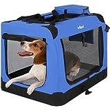 Leopet Faltbare Hundetransportbox Inklusive Polster Transportbox für Haustiere Hundebox Autobox für Hunde, Katzen und Kleintiere in Verschiedenen Farben & Größen