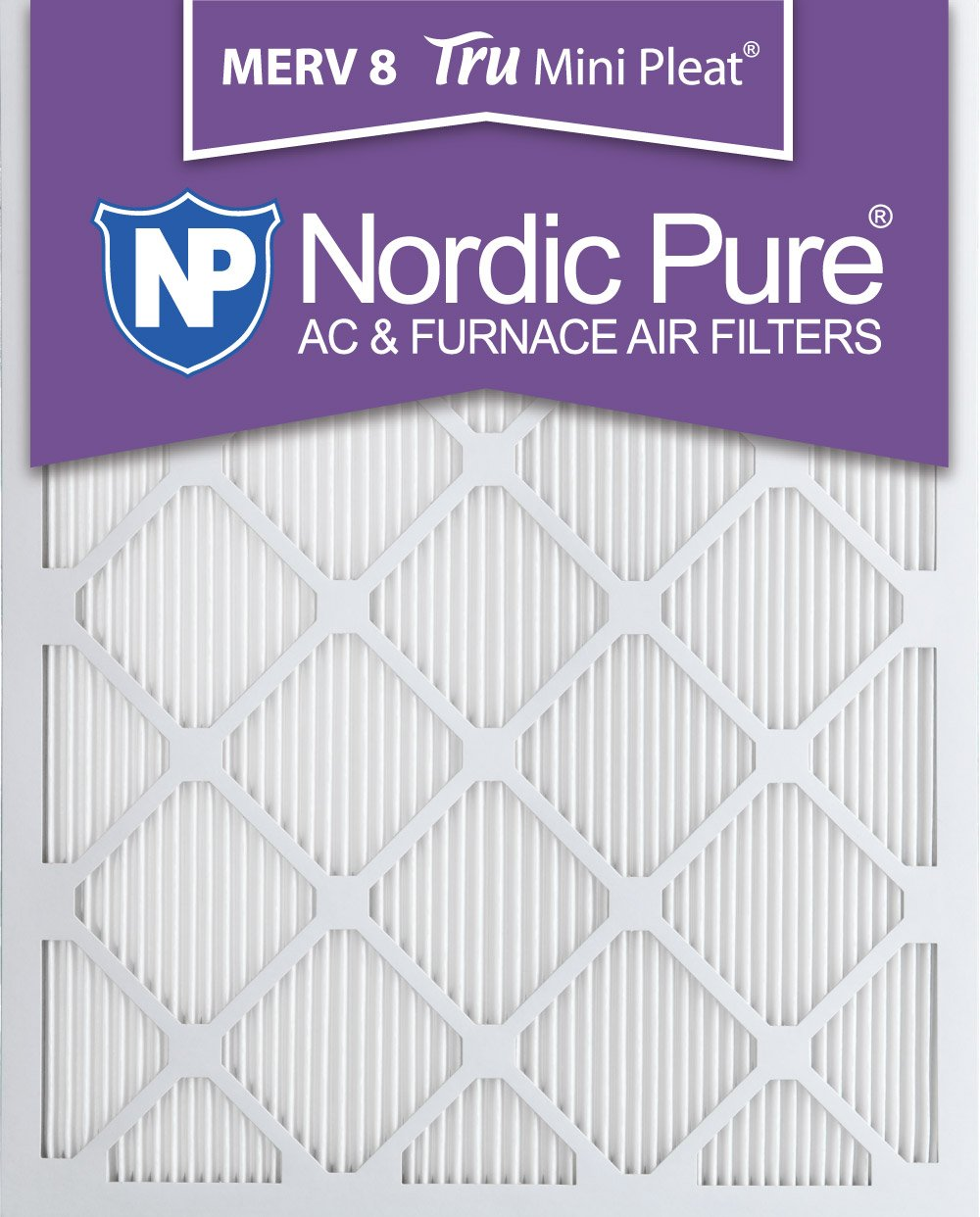 Nordic Pure 16 x 20 x 1 m8minipleat-3 Tru Mini Pleat Merv 8 AC炉エアフィルタ3パック、16